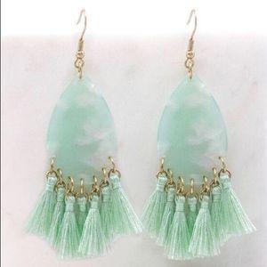 Becca Tassel Earrings- Mint